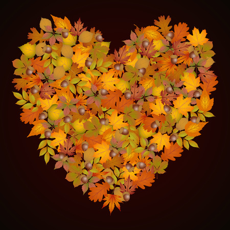 heart shaped leaves: Heart shaped autumn leaves background