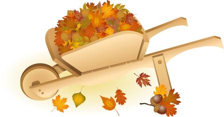 wheel barrow: Wooden wheel barrow full with autumn leaves