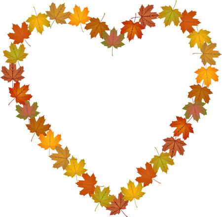 heart clipart: Fall leaves shaped heart frame Illustration