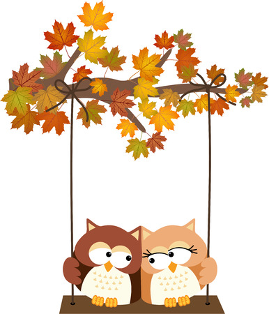 arbre automne: Fall tree with owls swinging