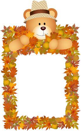 leaves frame: Teddy bear on the autumn leaves frame