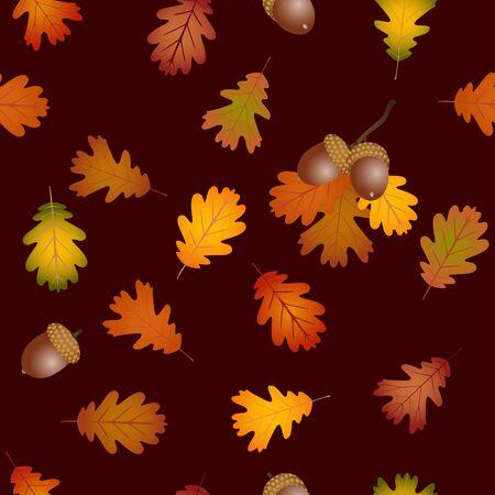 fall leaves background: Fall oak leaves and acorns seamless background