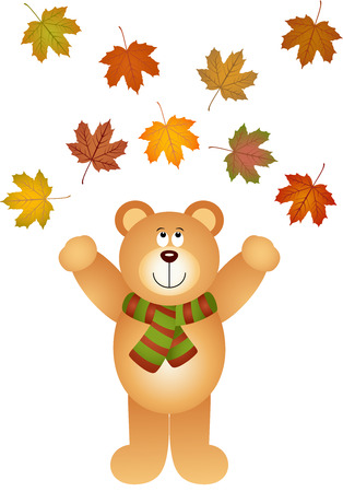 picking up: Teddy bear picking up fall leaves