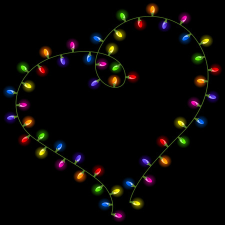 bright lights: Christmas lights shaped heart