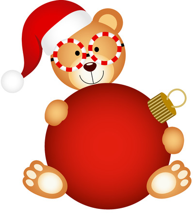 glas bal: Christmas teddy bear with glass ball