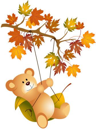 Teddybeer swingende op herfst boomtak Stock Illustratie