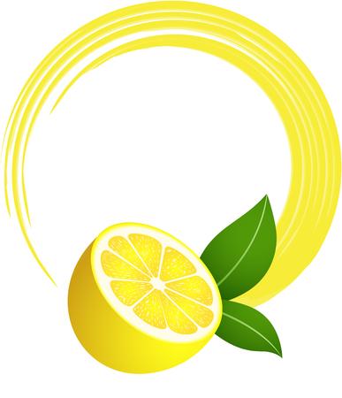 fruit clipart: Fresh lemon round frame
