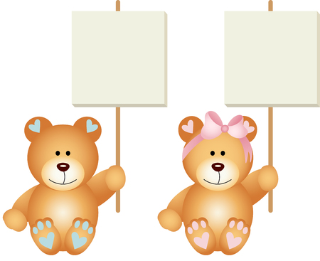cartoon banner: Baby teddy bears boy and girl holding a signboards Illustration