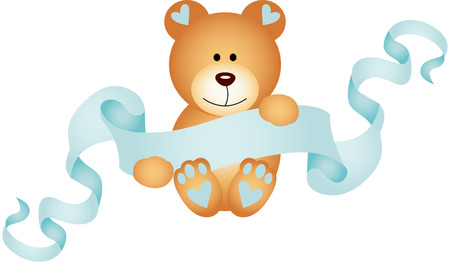 Teddy bear boy holding a blue ribbon banner