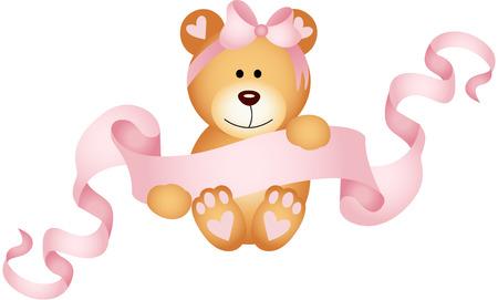 Teddy bear girl holding a pink ribbon banner