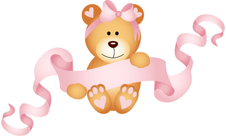teddybear: Teddy bear girl holding a pink ribbon banner