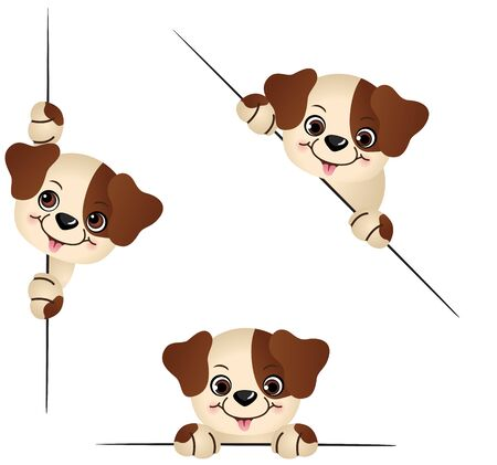 cartoon puppy: Cute dog peeking from behind in various positions