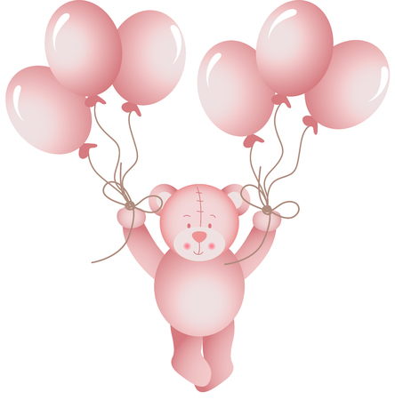 mother and baby: Baby girl teddy bear flying holding a balloons