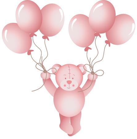 bebes ni�as: La ni�a de oso de peluche que volaba a un globos Vectores
