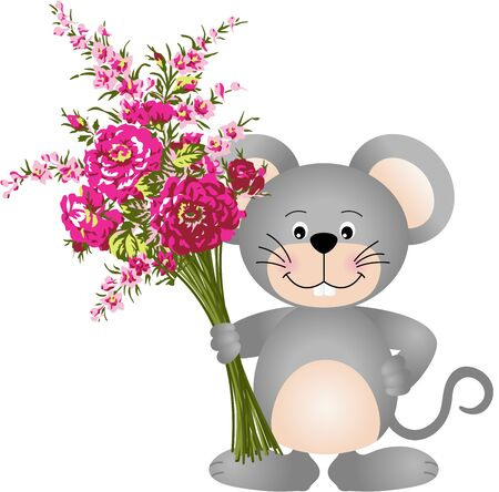 cute mouse: Cute mouse with flowers