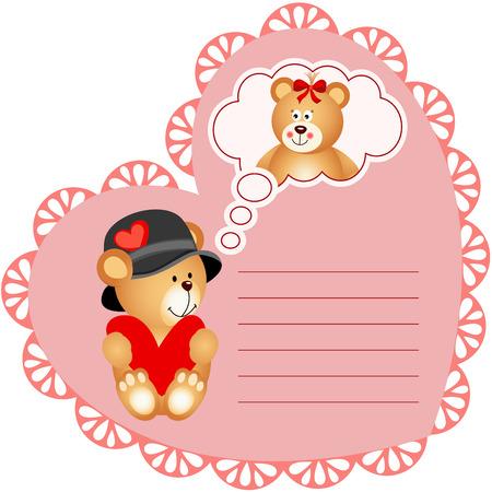 valentine card: Heart shaped valentine card with teddy bear
