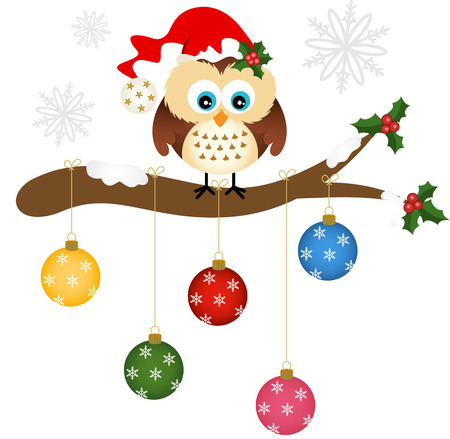 animal vector: Christmas owl on holly branch with glass balls