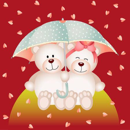 sotto la pioggia: Coppia orsacchiotto con ombrello sotto la pioggia di cuori Vettoriali