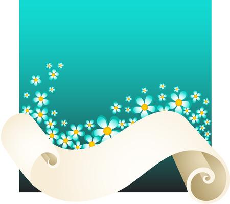 flor caricatura: Pergamino con flores azules Vectores