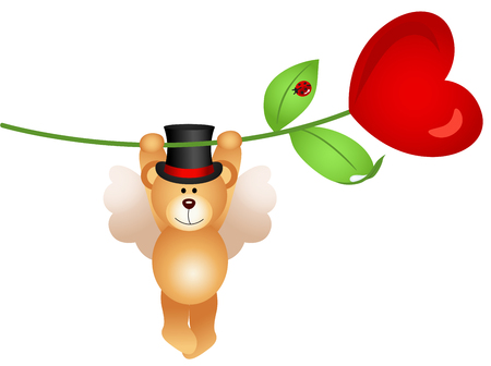 flower illustration: Teddy bear flying with heart flower Illustration