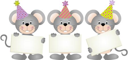 letreros: Mouses cumpleaños con letreros Vectores