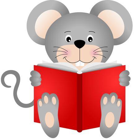 myszy: Cute myszy z książką Ilustracja