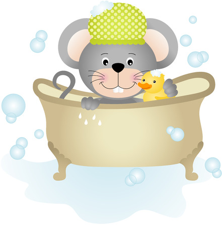 clip art people: Mouse taking a bath