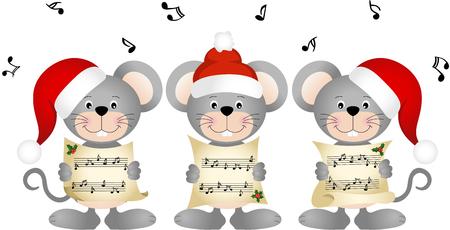 myszy: Boże Narodzenie Chór śpiewa myszy Ilustracja