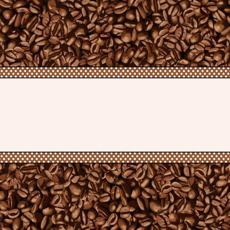 grano de cafe: Fondo del grano de café con la bandera en blanco Vectores
