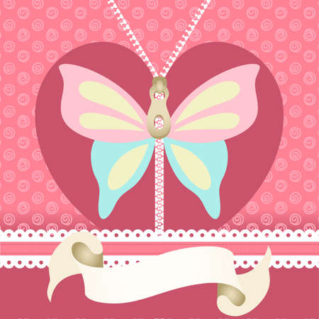 butterfly: Romantic background with butterfly illustration