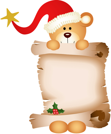 wishlist: Christmas teddy bear with parchment Illustration