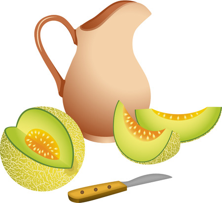 alimentation: Clay jug with cantaloupe melon Illustration