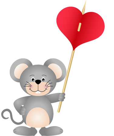carries: Cute mouse carries heart