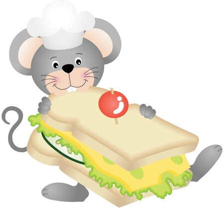 eat cartoon: Mouse eating cheese sandwich