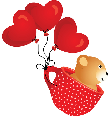 red cup: Teddy bear flying in red cup with heart balloons Illustration