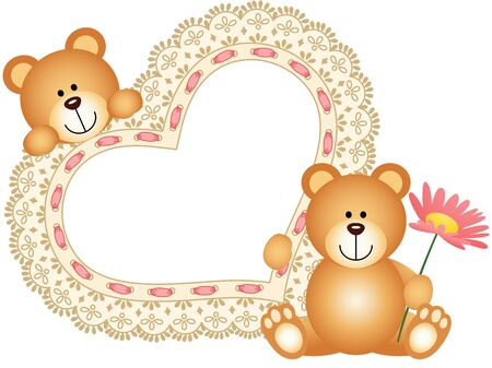 flower illustration: Teddy bears with blank embroidered heart