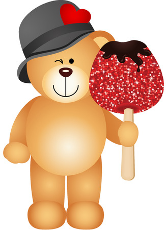 candy cartoon: Teddy bear holding candied apple
