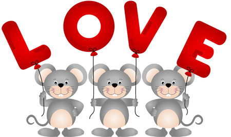 cartoon love: Cute mouses with love balloons Illustration