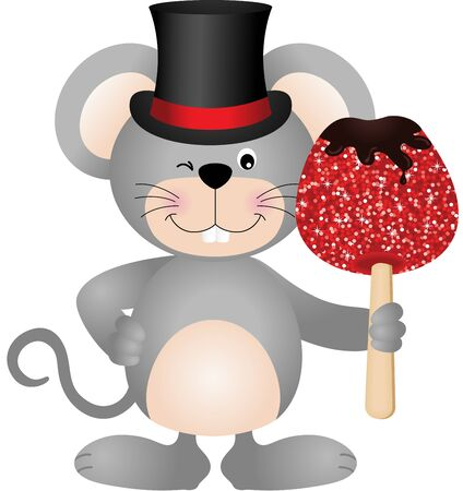 apple clipart: Mouse holding candied apple