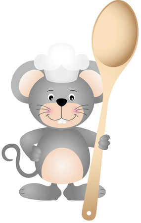 eating lunch: Cook mouse with wooden spoon