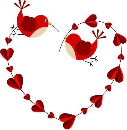 love hearts: Couple love birds forming a heart
