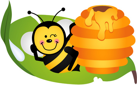 teamwork cartoon: Happy bee sitting on leaf with hive Illustration