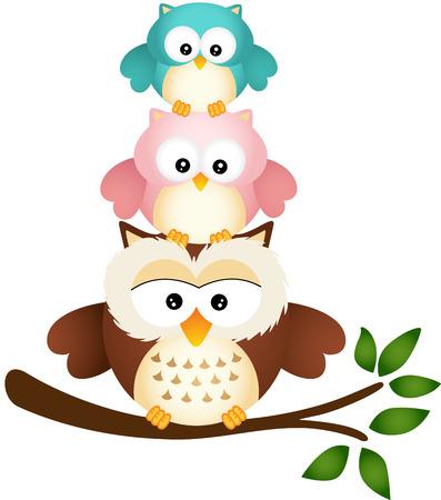 aves caricatura: Padre búho con dos hijos