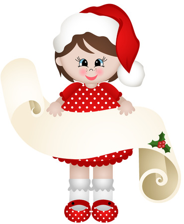 Christmas girl with a parchment