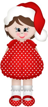 vector girl: Cute little Christmas girl Illustration