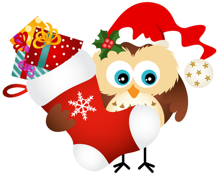 christmas owl: Owl holding Christmas stocking with gifts Illustration