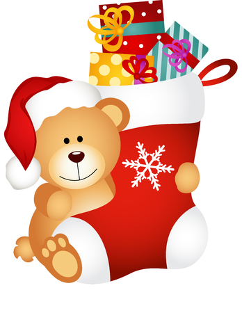 christmas gifts: Teddy bear holding Christmas stocking with gifts