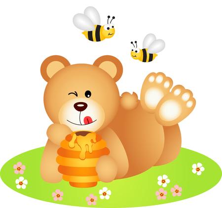 Teddy bear lying holding honey