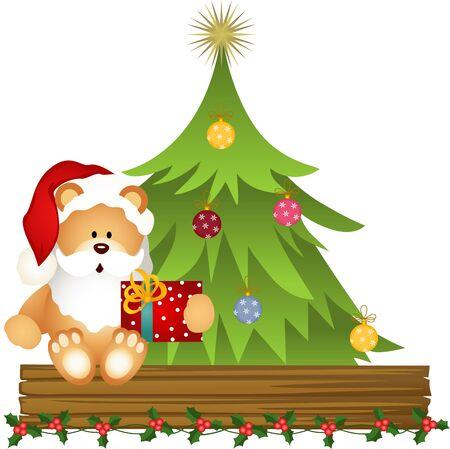 cartoon present: Teddy bear Santa Claus with Christmas gift
