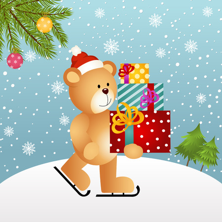 christmas gifts: Christmas background with teddy bear and gifts